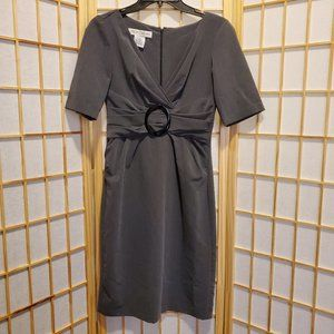 Maggie London Gray Ruched Front Dress Sz 4